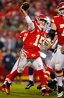 Kansas City Chiefs quarterback Patrick Mahomes (15) looks to pass during an NFL divisional football playoff game in Kansas City, Mo., Saturday, Jan. 12, 2019. <br /> ( Tom DiPace )