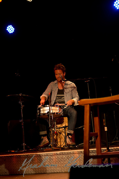 Drummer Jared Kneale performing with the Little Rippers in Nashville, TN.
