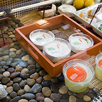 Samples and packaged cheeses at Fifth Town Artisan Cheese Co. store in Prince Edward County, Ontario