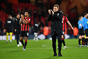 AFC Bournemouth Manager Eddie Howe celebrates victory after the FA Cup match between Bournemouth and Luton Town at the Vitality Stadium, Bournemouth, England on 4 January 2020.