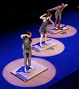 Dorrance Dance<br /> ETM: Double Down                                                                                               <br /> Sadler&rsquo;s Wells, London, Great Britain <br /> 12th July 2017 <br /> <br /> Groundbreaking tap dancer and choreographer Michelle Dorrance, winner of a 2015 MacArthur Fellowship and &ldquo;one of the most imaginative tap choreographers working today&rdquo; (The New Yorker), brings her company Dorrance Dance to Sadler&rsquo;s Wells this summer with the UK Premiere of ETM: Double Down opening on Wednesday 12 July.<br /> <br /> Dorrance brings tap into the age of electronic music with collaborator Nicholas Van Young whose electronic tap boards make the stage talk back, as every step, swipe and scrape sets off an element of sound, building musical loops, turning the stage into a musical instrument in its own right. With Afro-Brazilian, indie-pop, and music from Adele triggered by the eight dancers&rsquo; footwork, ETM: Double Down takes the first American dance form to a new level and reminds the audience that tap dancing is something to both watch and listen to.<br /> <br /> Performing on percussive electronic tap boards designed and made by Young, the company creates a thrilling combination of movement and music, producing what Dorrance calls ETM (electronic tap music).  Young built the ETM: Double Down equipment by hand over two years, connecting them to a MIDI controller, popular in electronic music since the 1980s. ETM: Double Down also features live music by an acoustic trio including vocalist Aaron Marcellus, bassist Gregory Richardson and pianist Donovan Dorrance. Along with the musicians there are seven tap dancers and Ephrat &ldquo;Bounce&rdquo; Asherie a b-girl (2016 Bessie Award nominee), whose movement also activates the music.<br /> <br /> Photograph by Elliott Franks <br /> Image licensed to Elliott Franks Photography Services