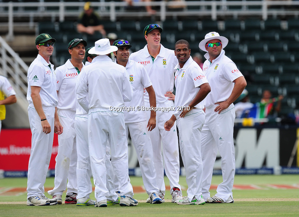 Vernon Philander of South Africa celebrates taking the wicket of Michael Clarke of Australia, Cricket - 2011 Sunfoil Test Series - South Africa v Australia - Day 5 - Wanderers Stadium<br /> &copy;Chris Ricco/Backpagepix