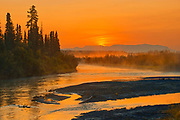 Sunrise on the Deazadeash River. Haines Road. <br />