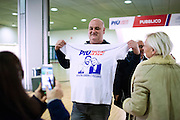 28 January 2016, Milan, Italy - A supporter of the Northern League party take a picture with the shirt with the slogan of the first Europe of Nations and Freedom (ENF) congress at the MiCo Palace in Milan.