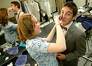 Sheridan Stevens, left, helps fellow actor Gabriel Nettesheim, right, apply make-up prior to the opening performance of &quot;Lost in Yonkers&quot; by the Frederick High School Drama Department, November 3, 2006.<br /> (Longmont Daily Times-Call, Bradley Wakoff)