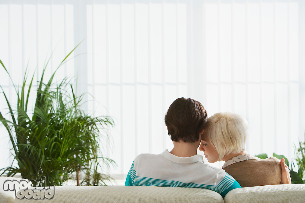 Couple embracing sitting on sofa back view