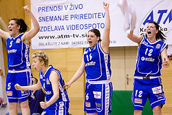 Ana Turcinovic, Matea Tavic, Anja Klavzar and Lea Jagodic of Merkur at 4th final match of Slovenian women basketball 1st league between Hit Kranjska Gora and ZKK Merkur Celje, on May 13, 2010, in Arena Vitranc, Kranjska Gora, Slovenia. Celje defeated Kr. Gora 71-60 and the result after 4th match is 2-2. (Photo by Vid Ponikvar / Sportida)
