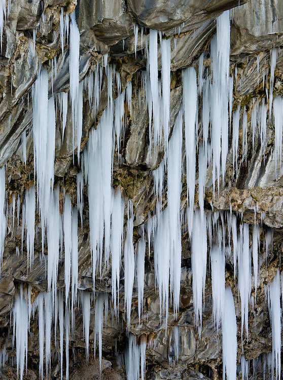 Icicles form on the south wall of the Snake River Canyon in Twin Falls, Idaho.