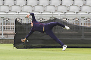 Lancashires Toby Lester getting in some catching practice during the media day for Lancashire Thunder at the Emirates, Old Trafford, Manchester, United Kingdom on 17 July 2018. Picture by George Franks.