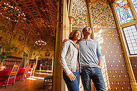 Couple looking around Banqueting Hall<br /> Cardiff Castle<br /> South<br /> Castles<br /> Historic Sites