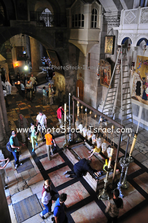 Israel, Jerusalem Old City, the Church of the Holy Sepulchre Stone of Anointment