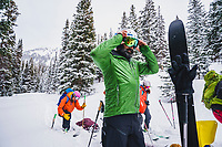 Koorosh Rassekh gets ready to leave the Mount Hayden Backcountry Lodge, San Juan Mountains, Colorado.