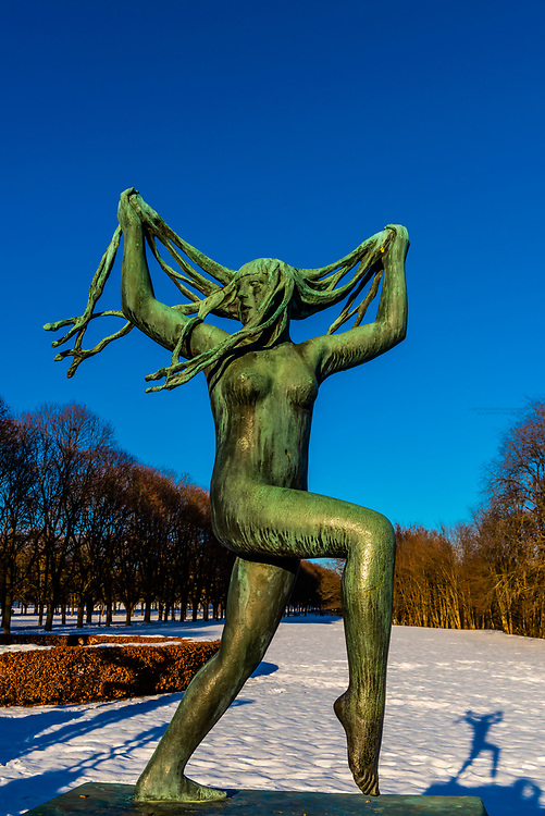 The sculpture park of Gustav Vigeland in the Frogner Park in Oslo, Norway. It is a permanent sculpture installation created by Gustav Vigeland between 1924 and 1943. It is the world's largest sculpture park made by a single artist, and is one of Norway's most popular tourist attractions. In the center is a monolith.