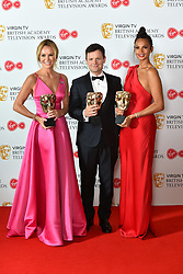 Amanda Holden, Declan Donnelly and Alesha Dixon, with the BAFTA for Entertainment Programmes for BGT, at the Virgin TV British Academy Television Awards 2018 held at the Royal Festival Hall, Southbank Centre, London.