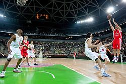 Giorgi Shermadini (16) of Olimpija vs Marco Mordente  of AJ Milano (R)  during basketball match between KK Union Olimpija (SLO) and Armani Jeans Milano (ITA) in Group D of Turkish Airlines Euroleague, on December 2, 2010 in SRC Stozice, Ljubljana, Slovenia. Union Olimpija defeated AJ Milano 82-75 and qualified to 16 best teams of Euroleague.  (Photo By Vid Ponikvar / Sportida.com)