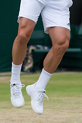 LONDON, ENGLAND - Monday, July 4, 2016:  Tomas Berdych (CZE) serving - legs , shoes- during the Gentlemen's Single 4th Round match on day eight of the Wimbledon Lawn Tennis Championships at the All England Lawn Tennis and Croquet Club. (Pic by Kirsten Holst/Propaganda)