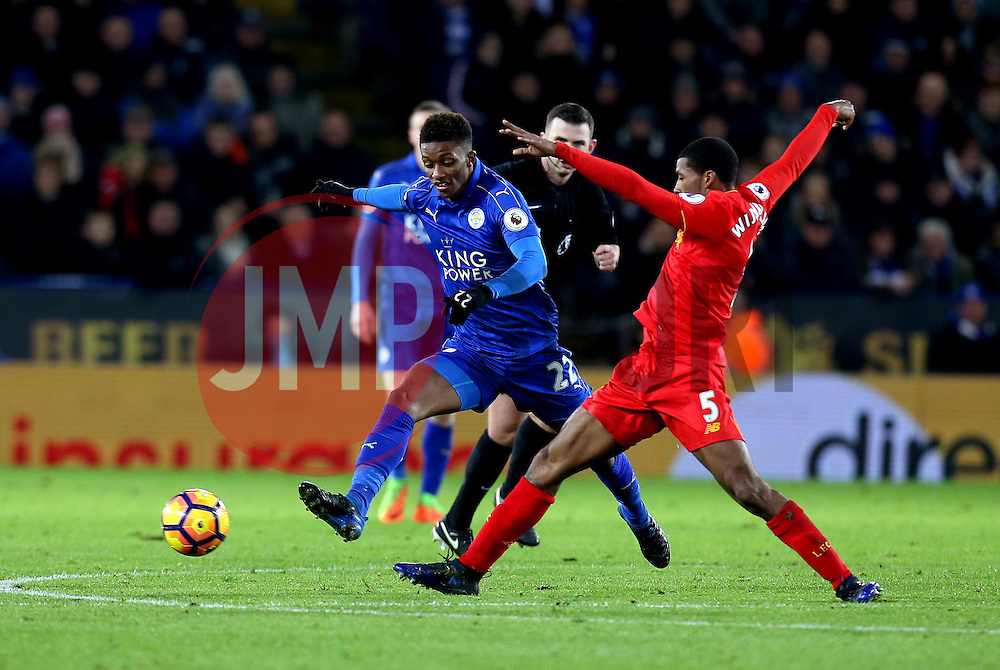 Demarai Gray of Leicester City tackles Georginio Wijnaldum of Liverpool - Mandatory by-line: Robbie Stephenson/JMP - 27/02/2017 - FOOTBALL - King Power Stadium - Leicester, England - Leicester City v Liverpool - Premier League