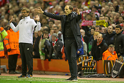 14.04.2016, Anfield Road, Liverpool, ENG, UEFA EL, FC Liverpool vs Borussia Dortmund, Viertelfinale, Rueckspiel, im Bild Trainer Thomas Tuchel (Borussia Dortmund) und Trainer Juergen Klopp (FC Liverpool) // during the UEFA Europa League Quaterfinal, 2nd Leg match between FC Liverpool vs Borussia Dortmund at the Anfield Road in Liverpool, Great Britain on 2016/04/14. EXPA Pictures &copy; 2016, PhotoCredit: EXPA/ Eibner-Pressefoto/ Schueler<br /> <br /> *****ATTENTION - OUT of GER*****