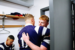 Tom Sims of Bristol Bears U18 and Aaron Thompson of Bristol Bears U18 after Bears U18 win 18-17 - Rogan/JMP - 14/12/2019 - RUGBY UNION - Shaftesbury Park - Bristol, England - Bristol Bears U18 v Bath Rugby U18 - Premiership Rugby U18 Academy League.