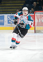 KELOWNA, CANADA, JANUARY 1: Cole Martin #8 of the Kelowna Rockets skates on the ice as the Calgary Hitmen visit the Kelowna Rockets on January 1, 2012 at Prospera Place in Kelowna, British Columbia, Canada (Photo by Marissa Baecker/Getty Images) *** Local Caption ***