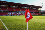 A general view from the corner flag inside Oakwell Stadium before the EFL Sky Bet Championship match between Barnsley and Queens Park Rangers at Oakwell, Barnsley, England on 14 December 2019.