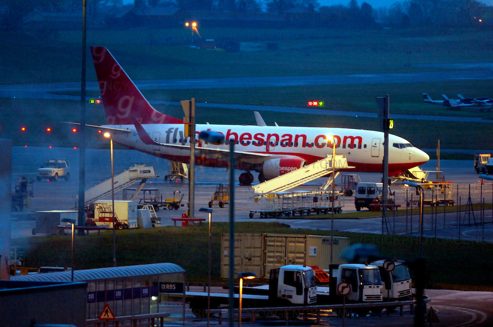 Flyglobespan, Scotland's largest airline, has gone bust, leaving about 5,000 travellers stranded abroad and 800 staff out of a job...More than 100,000 people have booked Christmas breaks with the company, which went into administration last night. Tens of thousands will receive no compensation for the loss. ..Picture shows a Fly Globespan plane parked up at Edinburgh International Airport.