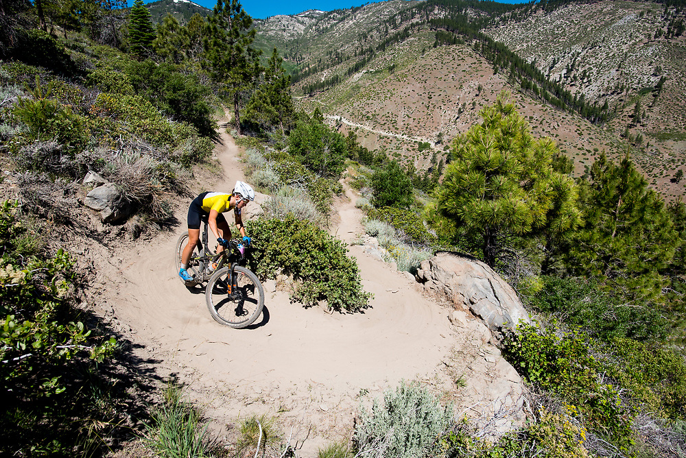 Sofia Gomez Villafone rounds a switchback on the Ash to Kings trail Sunday.