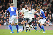 Fulham Striker, Ross McCormack (44) dribbling during the Sky Bet Championship match between Fulham and Cardiff City at Craven Cottage, London, England on 9 April 2016. Photo by Matthew Redman.