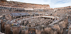Panorama of interior of Colosseum in Rome Italy