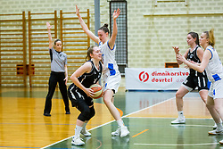 Simona Kuzma of ZKK Maribor amd Marusa Senicar of ZKK Triglav Kranj during basketball match between ZKK Triglav Kranj and ZKD Maribor in Round #1 of 1. Slovenian Woman basketball league, on February 20, 2018 in ŠD Planina, Kranj, Slovenia. Photo by Ziga Zupan / Sportida