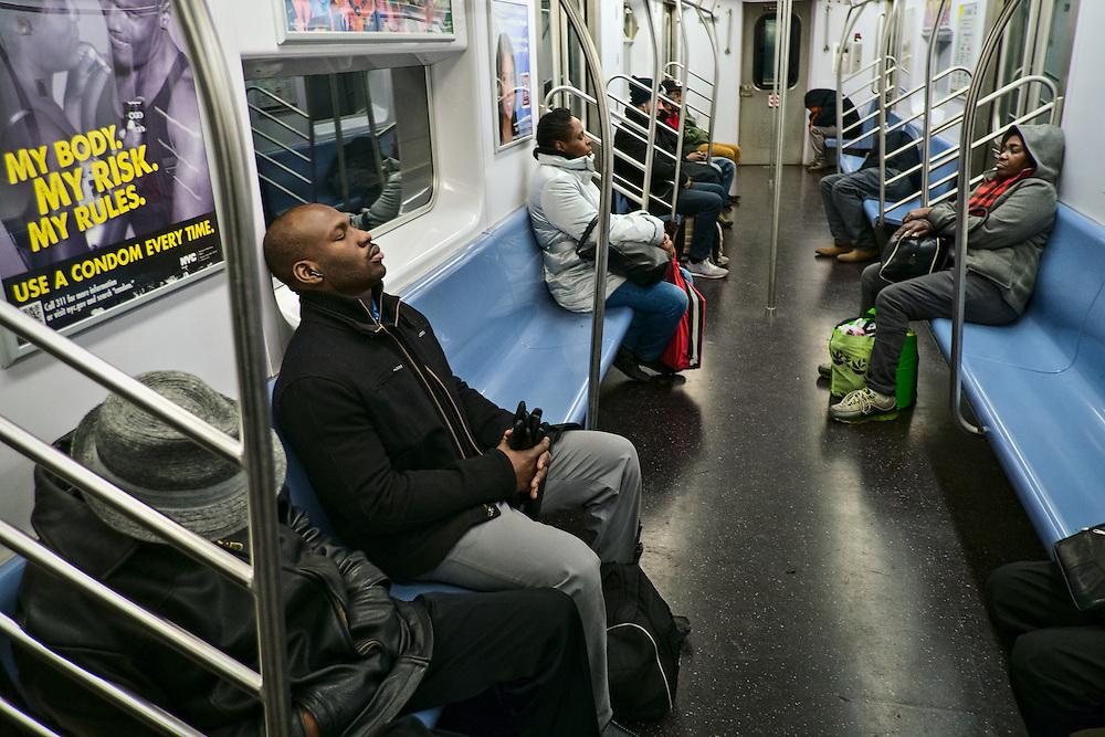 People sleeping on subway