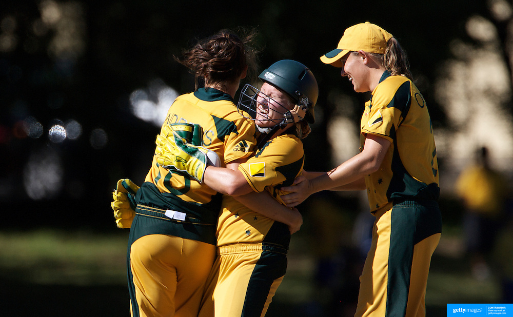 Sarah Andrews is congratulated by Leonie Coleman after taking a wicket during the match between Australia and Pakistan in the Super 6 stage of the ICC Women's World Cup Cricket tournament at Bankstown Oval, Sydney, Australia on March 16 2009, Australia won the match by 107 runs. Photo Tim Clayton