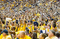 Feb 20, 2016; Morgantown, WV, USA; West Virginia Mountaineers students celebrate after the first score of the game at the WVU Coliseum. Mandatory Credit: Ben Queen-USA TODAY Sports