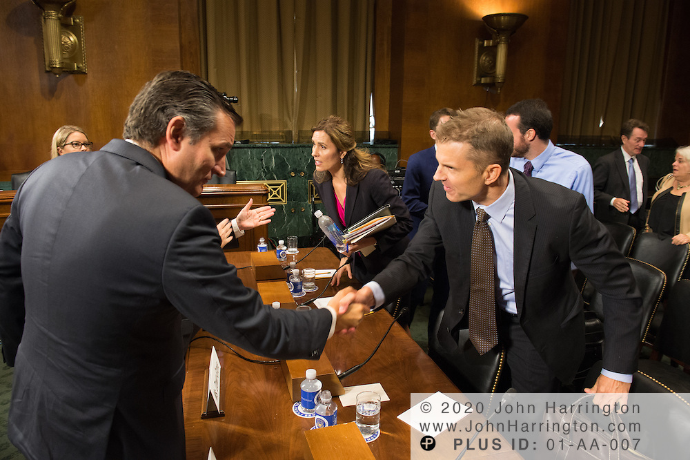 "Mr. John Horton, President and CEO, LegitScript greets Sen. Ted Cruz on Wednesday September 14, 2016, before the Subcommittee on Oversight, Agency Action, Federal Rights and Federal Courts, testimony was also heard from The Honorable Lawrence E. Strickling, Assistant Secretary for Communications and Information and Administrator<br /> National Telecommunications and Information Administration (NTIA), United States Department of Commerce;  Mr. Göran Marby, CEO and President, Internet Corporation for Assigned Names and Numbers (ICANN); Mr. Berin Szoka, President, TechFreedom; Mr. Jonathan Zuck, President, ACT The App Association;  Ms. Dawn Grove, Corporate Counsel<br /> Karsten Manufacturing; Ms. J. Beckwith (""Becky"") Burr, Deputy General Counsel and Chief Privacy Officer, Neustar;  Mr. John Horton, President and CEO, LegitScript;  Mr. Steve DelBianco, Executive Director, NetChoice; Mr. Paul Rosenzweig, Former Deputy Assistant Secretary for Policy, U.S. Department of Homeland Security."