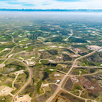 Oil and gas development area in Jonah Field in Sublette County in Wyoming from aerial perspective. Gas field at Jonah Field near Pinedale, Wyoming is know to be one of the largest on-shore natural gas in the US. The area also know to be very important sage-grouse habitat.