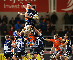 Bryn Evans of Sale Sharks wins a line out - Mandatory by-line: Matt McNulty/JMP - 10/02/2017 - RUGBY - AJ Bell Stadium - Sale, England - Sale Sharks v Newcastle Falcons - Aviva Premiership