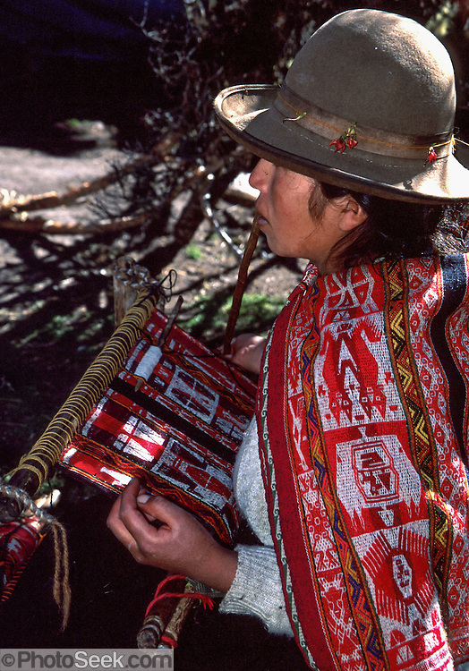 On a hand loom, an Andean woman weaves for a month on a rug which she sells for just $35 US. Her village is too far in the mountains for government to extend electric lines. She wears a felt hat and subsists on raising alpacas much as did her Inca ancesters. The moderately strenuous trek from Lares to Patacancha (near Ollantaytambo) traverses rugged, little-visited country in the Cordillera Urubamba across passes at 13,800 and 14,200 feet elevation. A five hour bus ride from Cuzco reaches Lares, where you can soak in developed hot spring pools. Llamas and horses carried our loads for two nights of camping at 12,500 feet elevation.