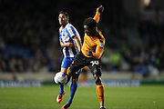 Wolverhampton Wanderers defender Kortney Hause (30) and Brighton & Hove Albion centre forward Sam Baldock (9) during the EFL Sky Bet Championship match between Brighton and Hove Albion and Wolverhampton Wanderers at the American Express Community Stadium, Brighton and Hove, England on 18 October 2016.