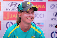 Meg Lanning captain of Australia speaks during the India team press conference held at the Reliance Cricket Stadium in Vadodara,  ahead of the first ODI match between India and Australia on the 11th March 2018<br /> <br /> <br /> Photo by Vipin Pawar / BCCI / SPORTZPICS