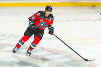 KELOWNA, BC - NOVEMBER 20: Leif Mattson #28 of the Kelowna Rockets warms up on the ice against the Victoria Royals at Prospera Place on November 20, 2019 in Kelowna, Canada. (Photo by Marissa Baecker/Shoot the Breeze)