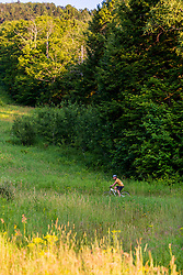 A man mountain biking in a field on Mount Ascutney in West Windsor, Vermont.