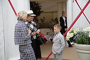 CARLA BAMBERGER; SHARON STONE AND HER SON ROAN, Cartier Queen's Cup final at Guards Polo Club, Windsor Great Park. 16 June 2013