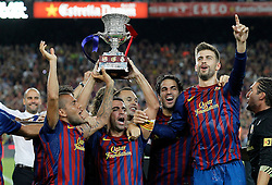 17.08.2011, Camp Nou, Barcelona, ESP, Supercup 2011, FC Barcelona vs Real Madrid, im Bild FC Barcelona's Daniel Alves, Andres Iniesta, Xavi Hernandez, Cesc Fabregas and Gerard Pique celebrates the victory during Spanish Supercup 2nd match.August 17,2011. EXPA Pictures © 2011, PhotoCredit: EXPA/ Alterphotos/ Acero +++++ ATTENTION - OUT OF SPAIN / ESP +++++