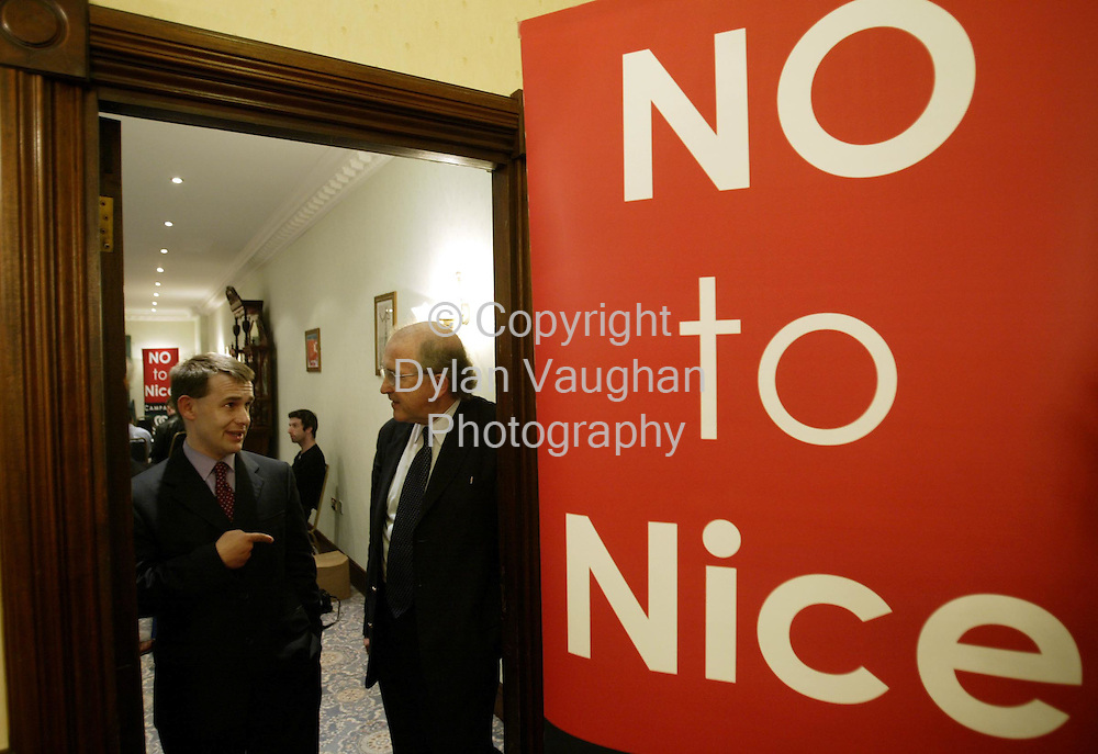 14/8/2002 Sunday Business Post.Justin Barrett of the No 2 Nice Camagn (left) and Anthony Coughlan of National Platform pictured at the No 2 Nice meeting at the Dolman Hotel Carlow..Picture Dylan Vaughan