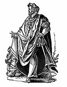 Knight Templar in travelling dress. Poor Knights of Christ and of the Temple of Solomon, founded c1119 to protect pilgrims from maruading Muslims. Order Suppressed by Pope Clement V in 1312. Woodcut by Jost Amman, 16th century.