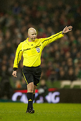DUBLIN, IRELAND - Tuesday, February 8, 2011: Northern Ireland referee Mark Courtney takes charge during the opening Carling Nations Cup match between the Republic of Ireland and Wales at the Aviva Stadium (Lansdowne Road). (Photo by David Rawcliffe/Propaganda)