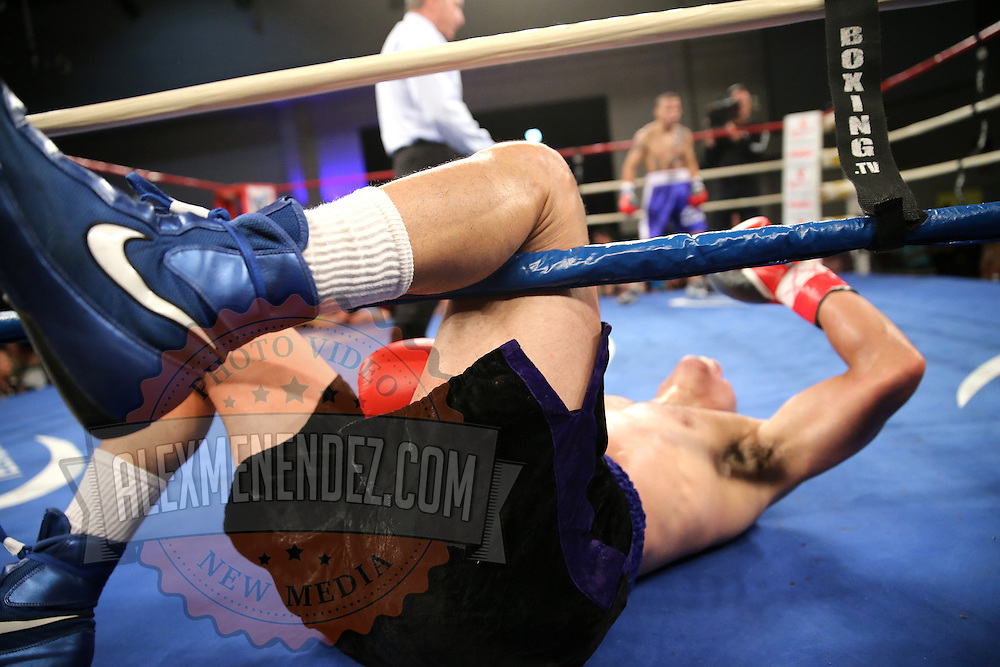 "Luis Rodriguez lies on the mat after a low blow during a ""Boxeo Telemundo"" boxing match at the Kissimmee Civic Center on Friday, July 18, 2014 in Kissimmee, Florida. Juan Castillo won the bout.  (AP Photo/Alex Menendez)"