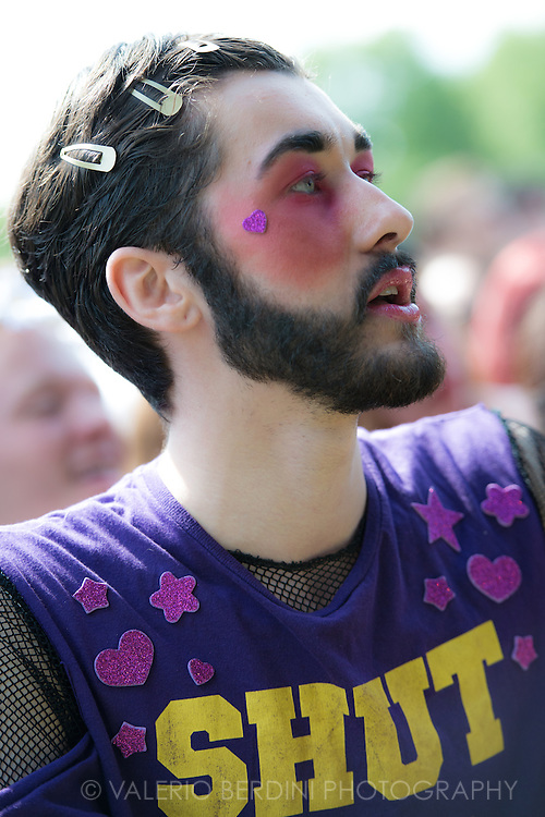 Colourful Make-up at Field Day in Victoria Park in London on 7 June 2014