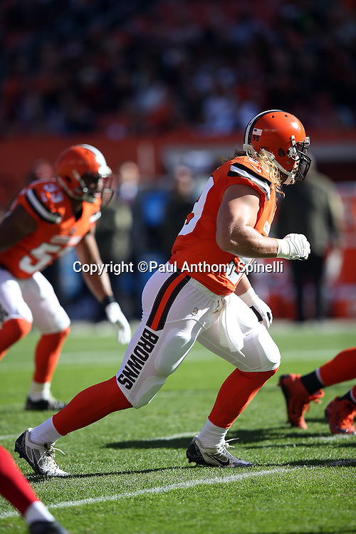 Cleveland Browns outside linebacker Paul Kruger (99) rushes the quarterback during the 2015 week 8 regular season NFL football game against the Arizona Cardinals on Sunday, Nov. 1, 2015 in Cleveland. The Cardinals won the game 34-20. (©Paul Anthony Spinelli)