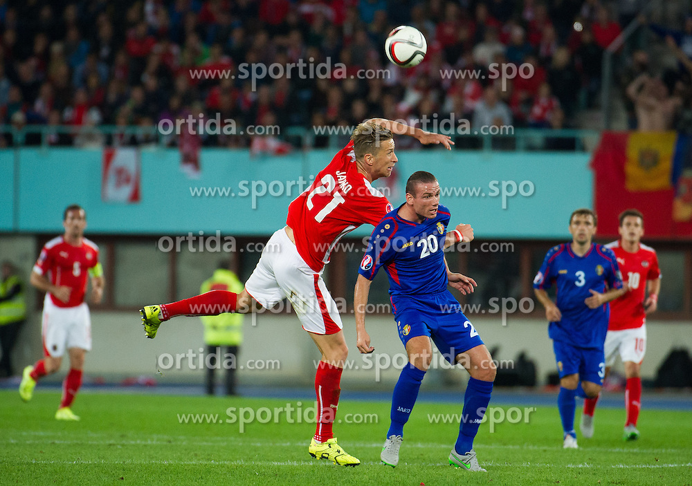05.09.2015, Ernst Happel Stadion, Wien, AUT, UEFA Euro 2016 Qualifikation, Oesterreich vs Moldawien, Gruppe G, im Bild v.l. Marc Janko (AUT), Petru Racu (AUT) // f.l.t.r. Marc Janko (AUT), Petru Racu (AUT) during the UEFA EURO 2016 qualifier group G match between Austria and Moldova at the Ernst Happel Stadion in Wien, Austria on 2015/09/05. EXPA Pictures © 2015, PhotoCredit: EXPA/ Michael Gruber